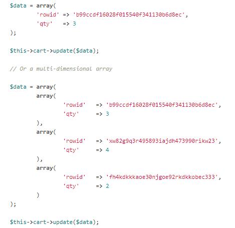 Codeigniter Cart Update