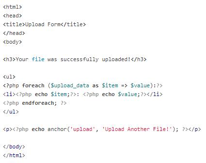 Codeigniter Upload Success