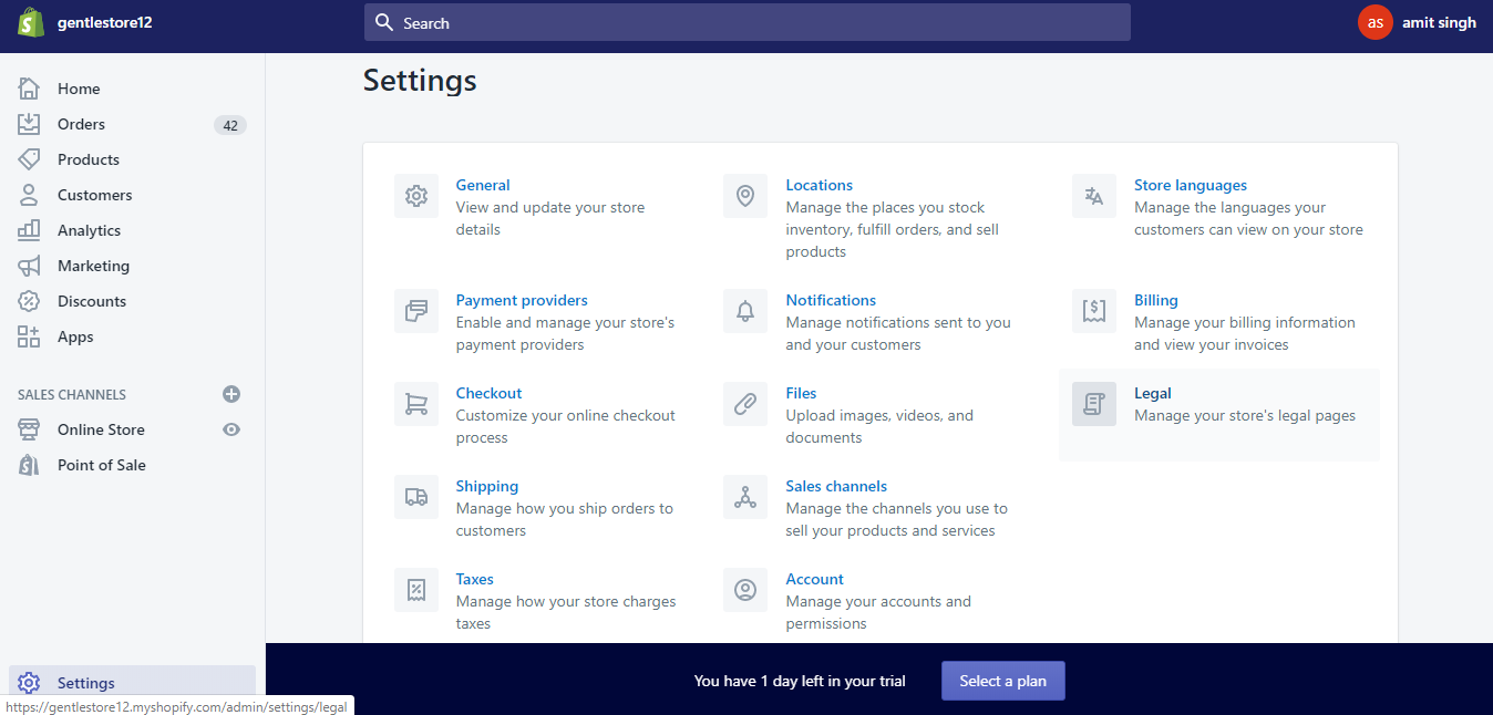 The settings tab of the Shopify admin dashboard