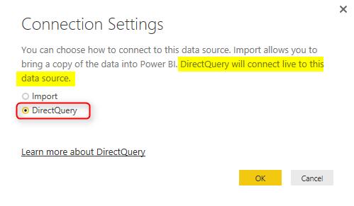 ChoosebetweenLiveconnectionorImport in Power BI Interface