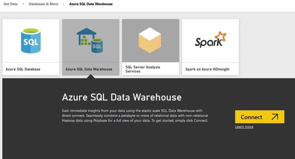 Azure SQL Data Warehouse Connect