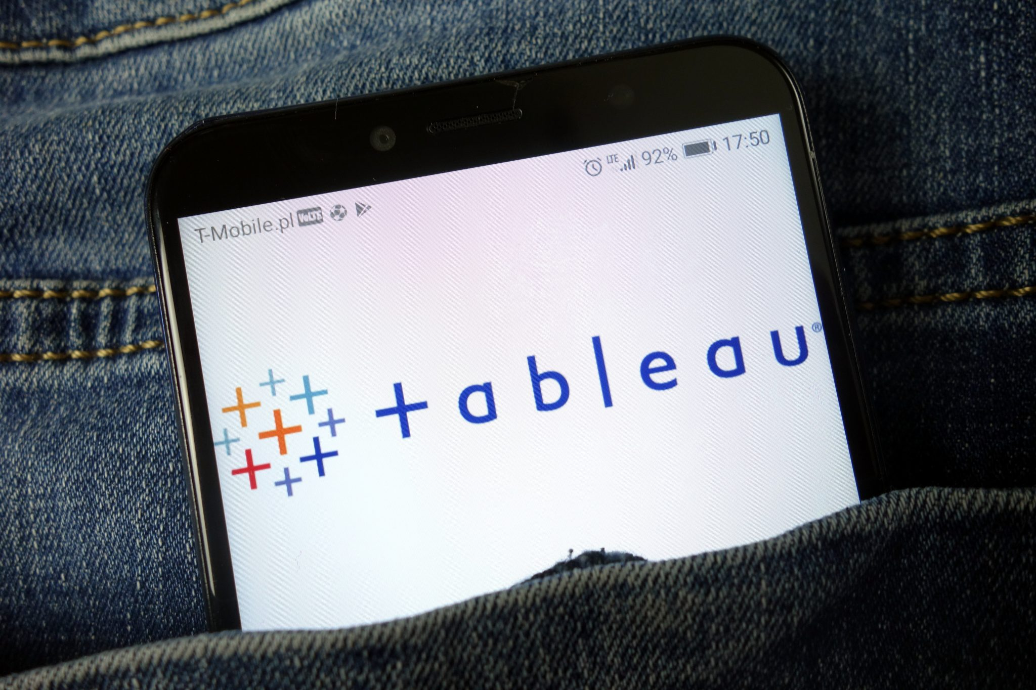 The Tableau logo on a smartphone screen