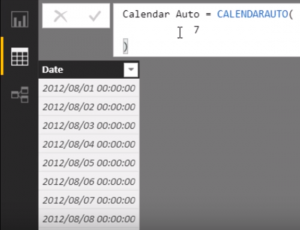 DAX table with CALENDARAUTO function
