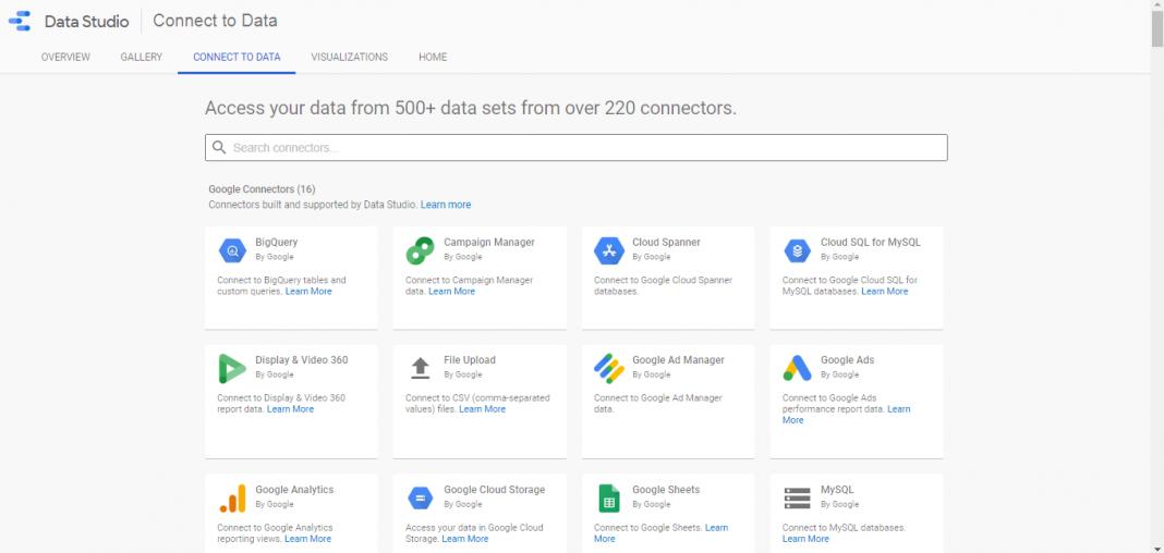 screenshot of google data studio connect to data feature