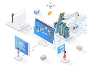 Process of automatic collecting and parsing raw data from web isometry concept. Data extraction software flat design. Vector illustration with people characters.