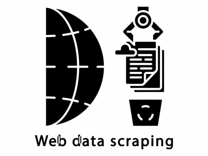 Web data scraping glyph icon.